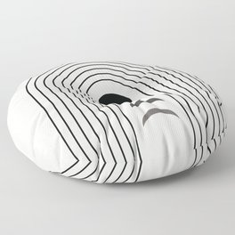 Geometric Lines in Black and Beige 13 (Rainbow and Moon Phases) Floor Pillow