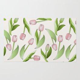 Retro Chic Pink Tulip Patten Rug