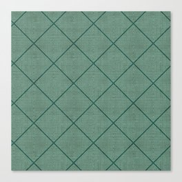 Stitched Diamond Geo Grid in Green Canvas Print