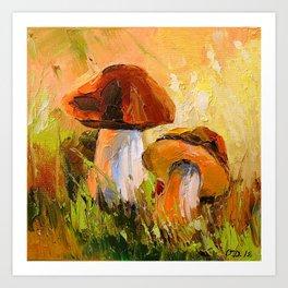 White mushrooms Art Print
