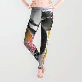 Breaching Orca Watercolor Rainbow Ancient Map Leggings