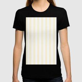 Narrow Vertical Stripes - White and Cornsilk Yellow T-shirt