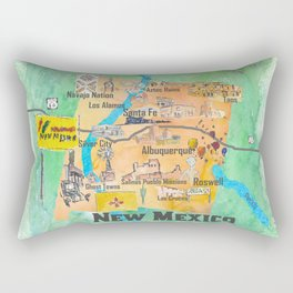 USA New Mexico State Illustrated Travel Poster Favorite Map Rectangular Pillow