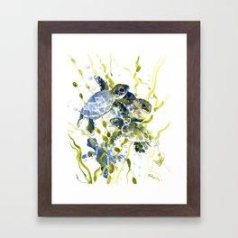 Turtle Baby Sea Turtles, underwater scene olive green, green indigo blue children Framed Art Print