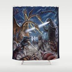 Godzilla Destroy all Monsters Monster Island Kaiju battle Shower Curtain