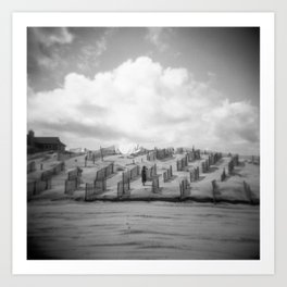 Dreamy Day on the Dunes - Corolla, NC - Black and White Film Photograph Art Print