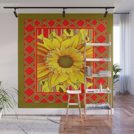 AVOCADO COLOR RED YELLOW SUNFLOWER ART Wall Mural