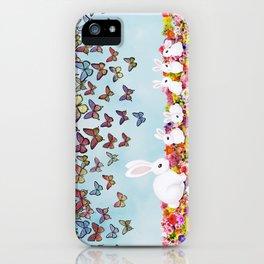 bunnies, flowers, and butterflies iPhone Case
