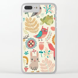 Woodland Animal Pattern Clear iPhone Case