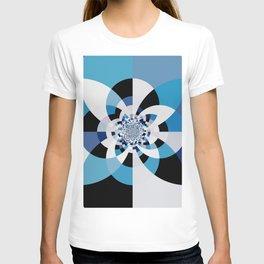 Dual Poles Blue Kaleidoscope Mandala T-shirt