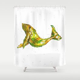 Pineapple Whale Shower Curtain
