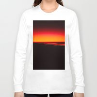 aperture Long Sleeve T-shirts featuring Night Lights Four Red Tail Lights by David Hohmann