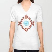 southwest V-neck T-shirts featuring Southwest - Blue Hopi Sun by Mia Valdez
