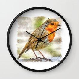 Christmas Robin Winter Watercolor Wall Clock