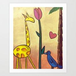 Giraffe Tulip Bluebird Art Print