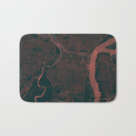 Philadelphia Map Red Bath Mat