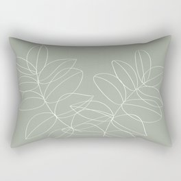 Boho Sage Green, Decor, Line Art, Botanical Leaves Rectangular Pillow