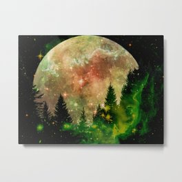 Full moon and stars - green Metal Print
