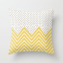 Chartreuse Chevron and dots  Throw Pillow