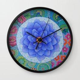 Violet Flower Mandala Wall Clock