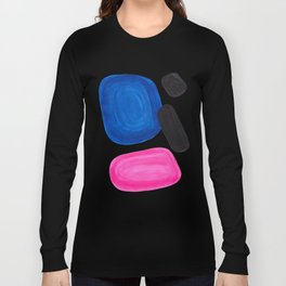 Colorful Minimalist Pop Art Mid Century Modern Style Rose Magenta Phthalo Blue Bubbles Long Sleeve T-shirt