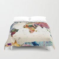geek Duvet Covers featuring map by mark ashkenazi