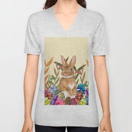Bunny in garden with colored Easter eggs Unisex V-Neck