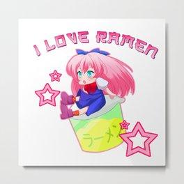 Ramen Noodles Anime Japanese Food Chopstick Gift Metal Print