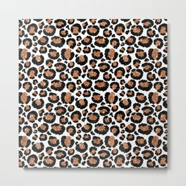 Leopard Metal Glamour Skin on white Metal Print