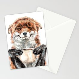 """ Morning fox "" Red fox with her morning coffee Stationery Cards"