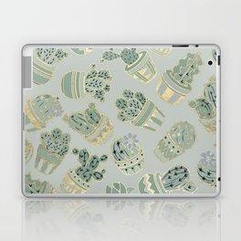 Mint green black faux gold cactus floral Laptop & iPad Skin