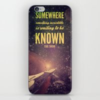 carl sagan iPhone & iPod Skins featuring Space Exploration (Carl Sagan Quote) by taudalpoiart