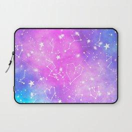 White constellation universe pattern zodiac on purple blue nebula space watercolor Laptop Sleeve