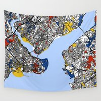 istanbul Wall Tapestries featuring Istanbul mondrian by Mondrian Maps