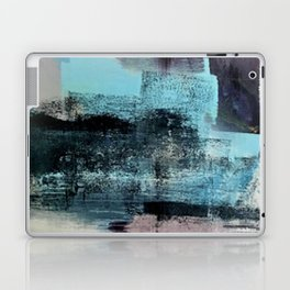 Reaction: an abstract mixed media piece in blues and purple by Alyssa Hamilton Art Laptop & iPad Skin