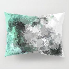 Mint Green Paint Splatter Abstract Pillow Sham
