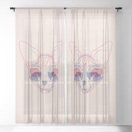 Sphynx Cat Skull Double Exposure - Overlay Hairless Kitty Illustration Sheer Curtain