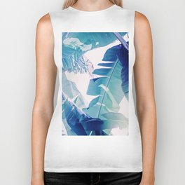 Banana Leaf Blue Biker Tank