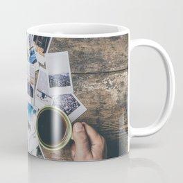 Polaroids prints on a wooden table Coffee Mug