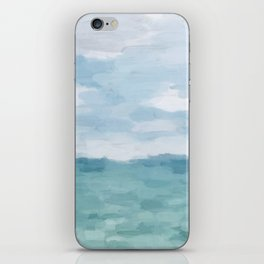 Mint Blue White Gray Abstract Wall Art Painting iPhone Skin