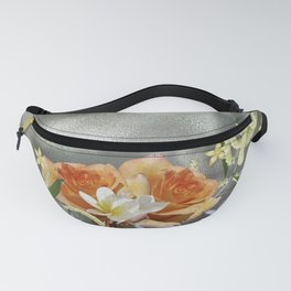 Beautiful bouquet of flowers on shiny background Fanny Pack