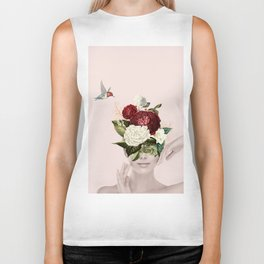 Collage of lady with flowers Biker Tank