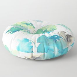Tropical Leaves Collab. Dylan Silva Floor Pillow