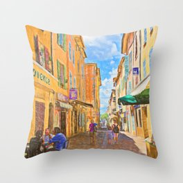 Medieval street in Provence Throw Pillow