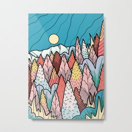 The hill behind a forest Metal Print