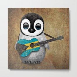 Baby Penguin Playing Bahamas Flag Acoustic Guitar Metal Print