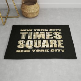 Times Square NYC (glowing gold type on black) Rug