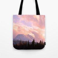ashton irwin Tote Bags featuring Rose Quartz Turbulence by Alaskan Momma Bear