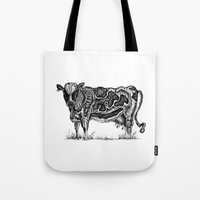 cow Tote Bags featuring Cow by Ejaculesc