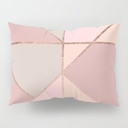 Modern rose gold peach blush pink color block Pillow Sham